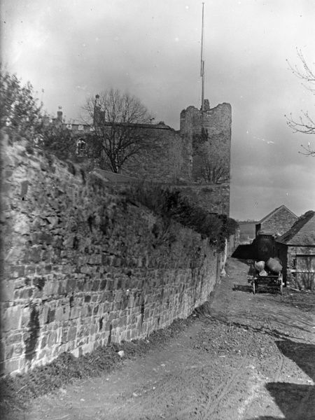 View of a narrow lane below the Castle in the centre of Haverfordwest, Pembrokeshire, Dyfed, South Wales. The castle dates back to the 12th century