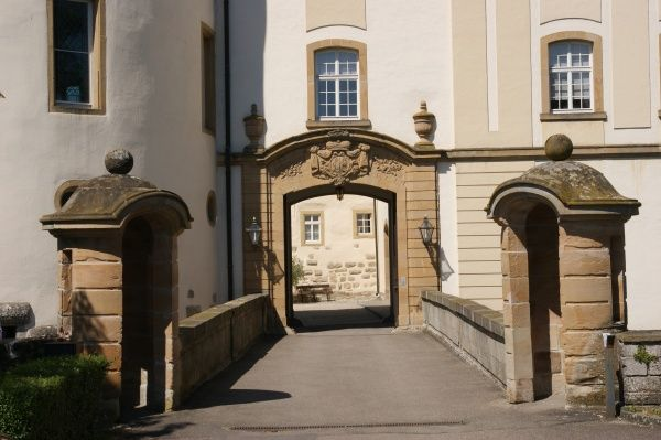 Entrance to Langenburg Castle, residence of the Princes of Hohenlohe, in the town of Langenburg in the state of Baden Wurttemberg, Germany