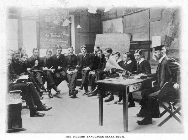 The modern languages classroon at Westminster, with the boys learning from an early wax cyclinder gramophone