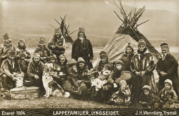 Lyngseidet, Norway. Families of Lapps with their tents