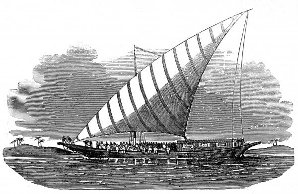 Engraving of a large passenger-carrying lanteen-rigged dhow, on the Nile, Egypt, 1853