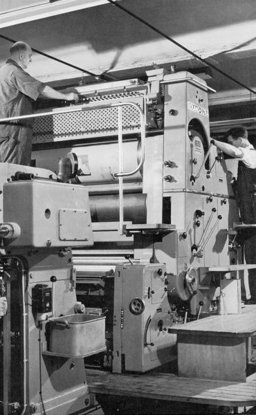 The large Offset-Litho two-colour printing machine (a Roland-Ultra) preparing to run at the Lund Humpries Printing Works. Photograph by Heinz Zinram