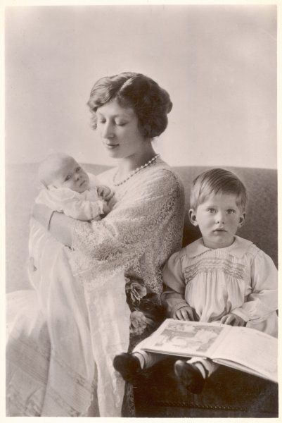 PRINCESS MARY VISCOUNTESS LASCELLES with her sons George Hubert (right) and baby Gerald David (left)