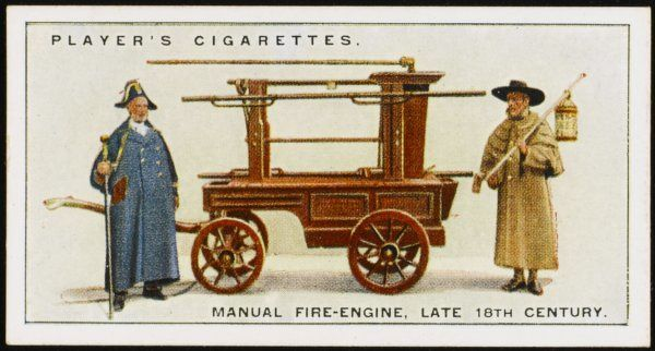 Known as a 'bed-poster', this London engine is a manual machine worked by pumping handles on either side : a Beadle and a Watchman are in official attendance