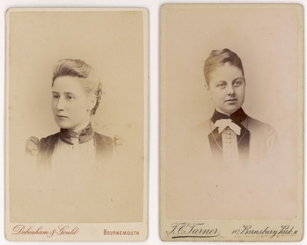 Two late Victorian young women in head and shoulders studio portraits