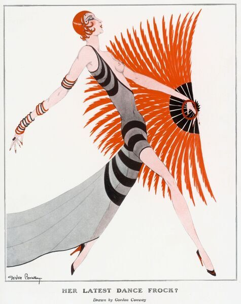 A flame-haired flapper with a feathered fan strides into the frame wearing a revealing off-the-shoulder black striped dress. Gordon Conway's creation wears thin red and black bangles up her arm with matching heels