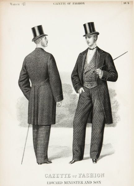 The latest fashions for men by Edward Minister and Son, featured in the Gazette of Fashion. The two men wear tail coats, silk top hats, double breasted waistcoats and carry walking canes