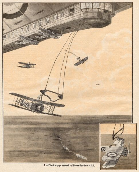 Aeroplanes are carried beneath an airship, to be released if the airship should be attacked by hostile aircraft