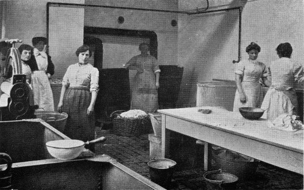 Inmates work in the laundry washhouse at the Eastern Counties or East Harling Inebriates Reformatory, Norfolk. Housed in the former Guiltcross Union workhouse, the institution was one of several operated by National Institutions for Inebriates