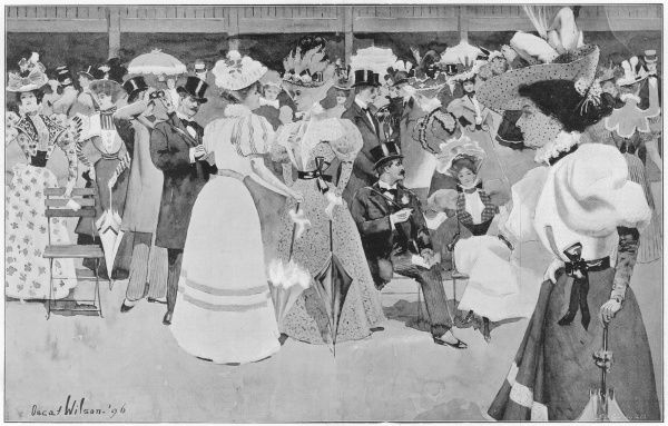 Fashionable race-goers on the Lawn at Ascot