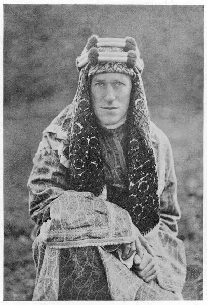 British archaeologist, soldier, intelligence officer and writer, Thomas Edward Lawrence (1888-1935), known as Lawrence of Arabia, in traditional Arab costume