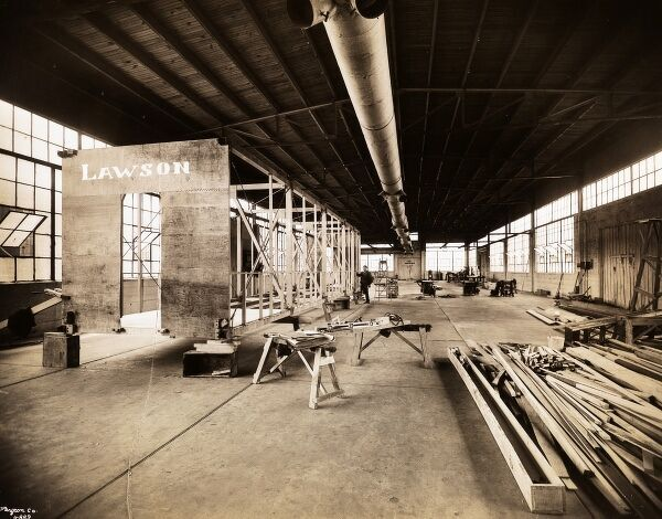 Lawson Aircraft Co., Interior, Factory, Garwood, N.J. Factory space with wooden airplane structure under construction