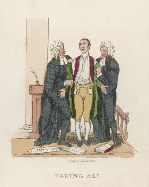 A gentleman goes to law and is assisted by two lawyers who empty his pockets and strip him of his possessions