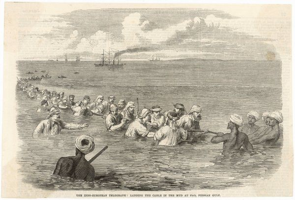 The Indo-European telegraph : landing the cable in the mud at Fao, in the Persian Gulf