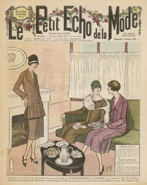 Two ladies keep on their hats, and one her fur stole, while they enjoy 'le five o'clock' with their friend