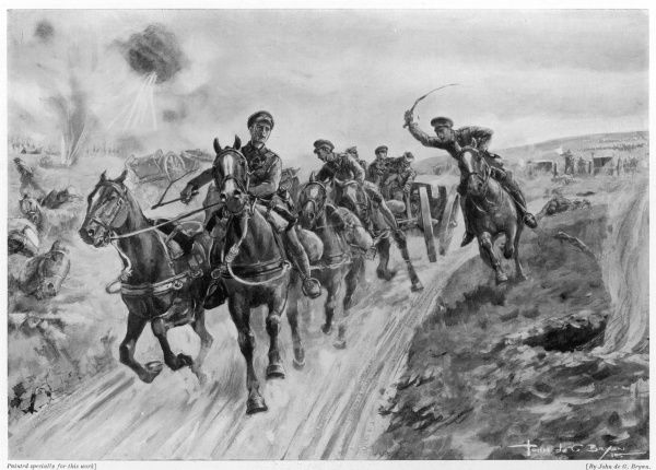 With German forces nearly upon the field artillery at Le Cateau in northern France, Captain Douglas Reynolds leads a heroic rearguard action. Having brought up two teams of horses in the hope of saving at least two guns, one team of men was quickly shot down