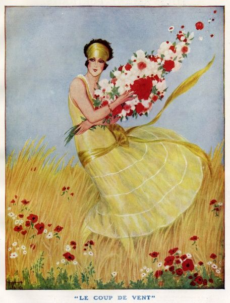 'Le Coup De Vent' ('The Gale') Women dressed in light yellow dress trying to hold a large bouquet of flowers that are being blown away by the wind