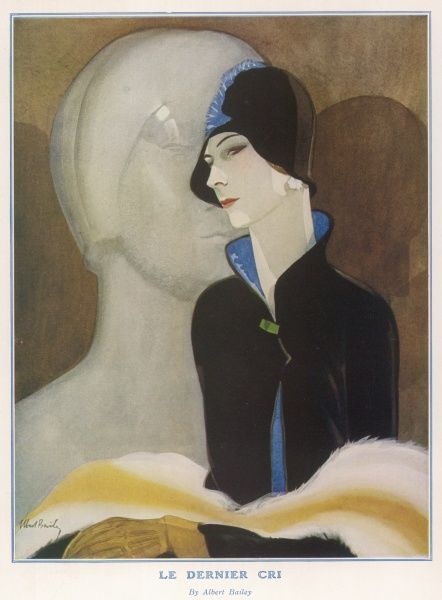 Illustration by Albert Bailey showing a fashionable woman in a black cloche hat posing in front of an art deco statue