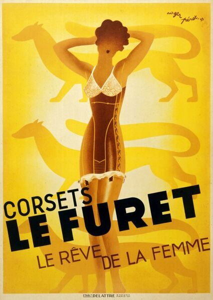Art deco style poster advertising Le Furet corsets, depicting a slim and glamorous woman wearing the said item
