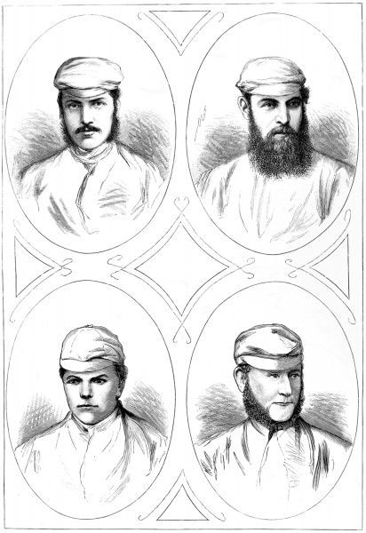 Engraving showing four leading English cricketers of the 1874 season. From top left, clockwise: G.F. Grace Esq., W.G. Grace Esq., J. Southerton and H.Jupp