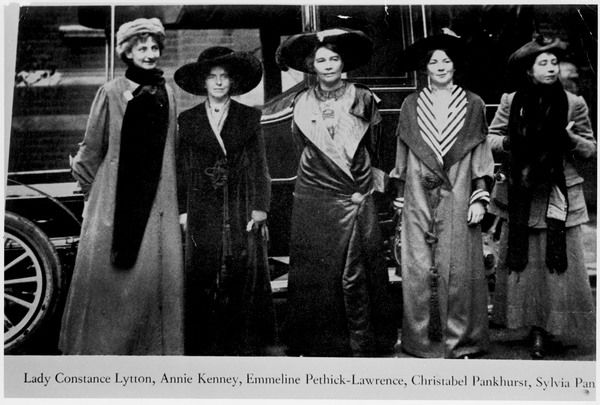 Five leading suffragettes: (from left) Lady Constance Lytton, Annie Kenney, Emmeline Pethick-Lawrence, Christabel Pankhurst and Sylvia Pankhurst
