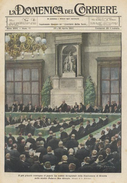 The opening session of the League of Nations in Geneva. The purpose of the League, set up in 1919 & written into the WW1 peace treaties, was to keep peace through arbitration