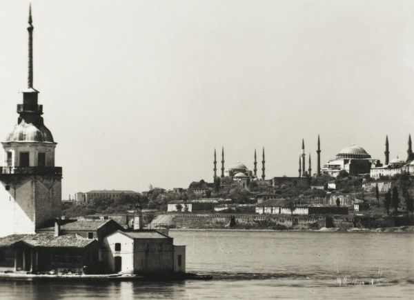 A view from Leander's Tower across the Bosphorus to the European side of Constantinople, with the Blue Mosque and the Hagia Sophia dominating the skyline