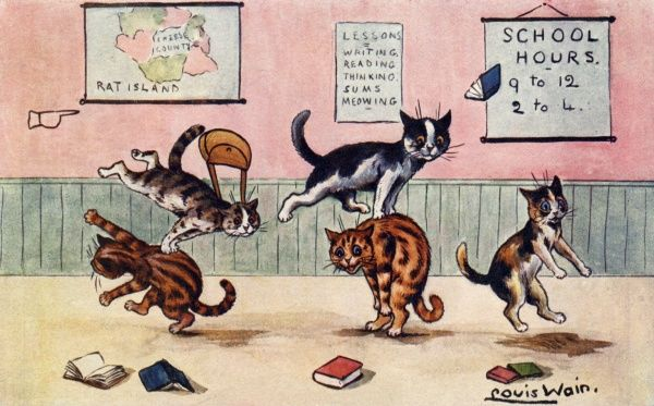 Leap Frog. Artist: Louis Wain. Happy cats having fun with a traditional game of Leap Frog Date: 1904