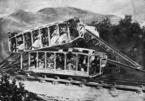 An amusing illustration of the latest sensational railway design, the 'Leap Frog' railway