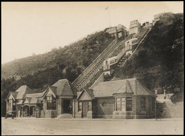 View of the Leas Lift at Folkestone, Kent. It was designed by R.G. Waygood in 1885, and in 1890 it was decided to build a further lift alongside