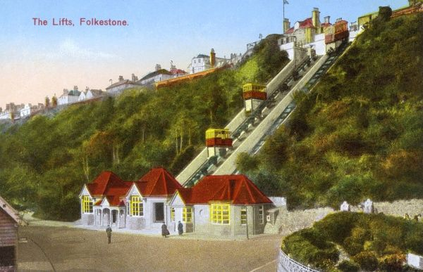 The Leas Lifts, Folkestone, Kent. The Folkestone cliff lift is a water balanced funicular opened in 1885. This proved so popular three further lifts were added