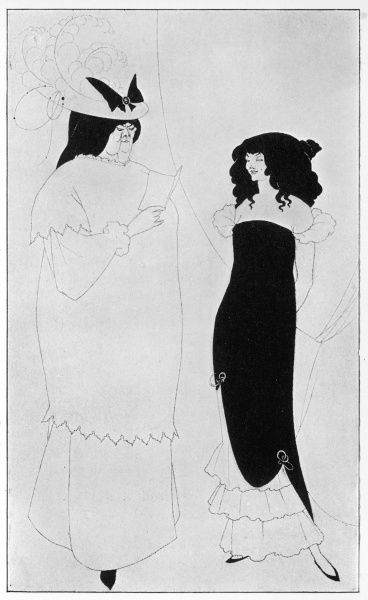 L'Education Sentimentale by Aubrey Beardsley. A matronly woman reads to a coquettish girl. Illustration in The Yellow Book, volume I, April 1894