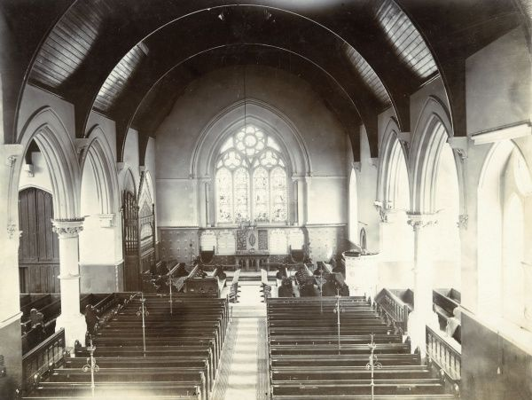 The interior of Holy Trinity church at Lee, southeast London. Date: circa 1890