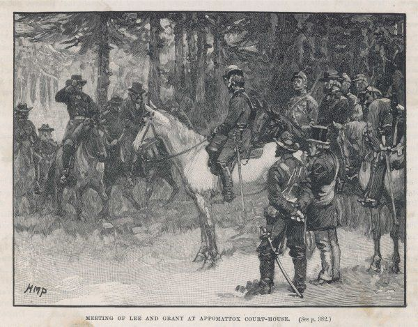 The meeting of Lee and Grant at Appomattox court-house, ending the war between the states