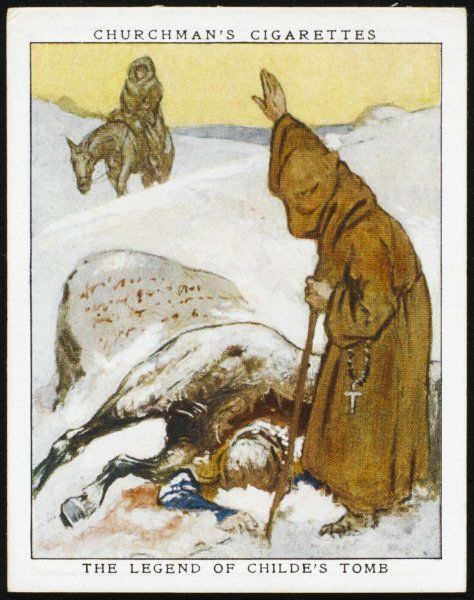Childe, Lord of Plymstock, is overcome by snow on Dartmoor. He writes a will in horse's blood leaving his lands to whoever buries him. Tavistock monks do this & gain the land