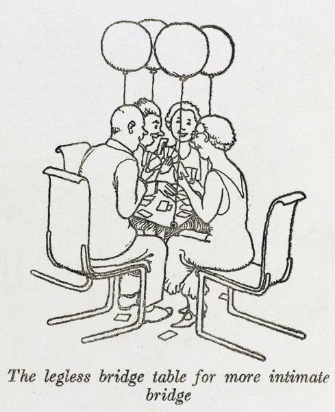Post War Britain - Social reform. A legless bridge table, kept in place instead by four balloons, hovers, allowing a more intimate game to be played