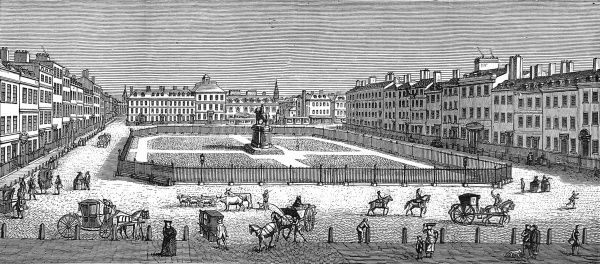 Engraving showing a view of Leicester Square in London, 1753