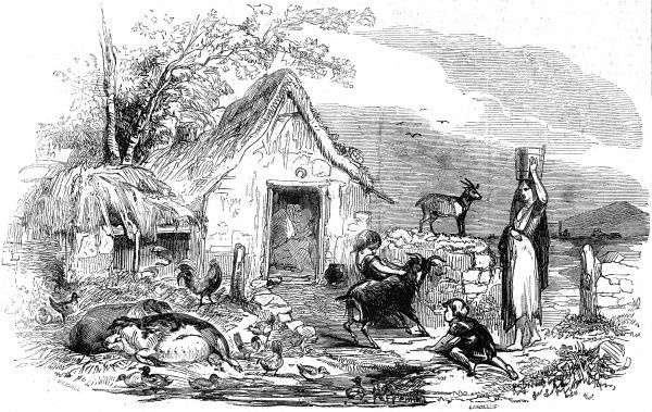 The cottage or cabin in the doorway of which an old woman is spinning, and around which are pigs, poultry and goats. A young pregnant woman carries water through the gateway while children play in the dirt with the livestock