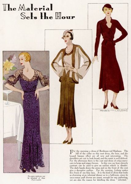 Fashions by Lelong: a dark red morning dress; coat and dress of brown and beige crepe and an informal dinner frock of sea blue lace which wouldn't look out of place in the ballroom