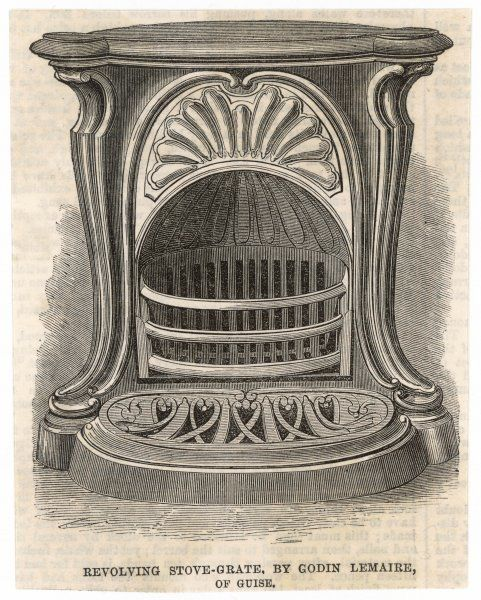 Revolving stove-grate by Godin Lemaire of Guise - featured at the 1867 exposition