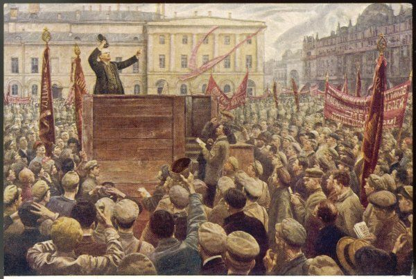 VLADIMIR LENIN addressing a Moscow crowd
