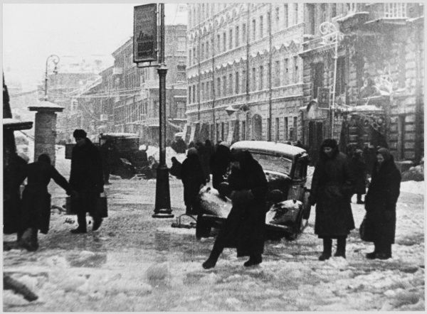 The streets of the city are left to ice over due to the danger of air- attack and the lack of resources