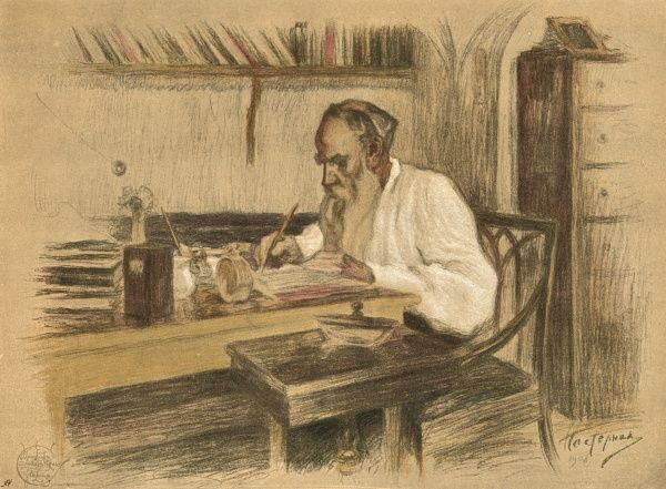 LEO TOLSTOY Russian novelist and moral philosopher writing in his study Date: 1828 - 1910