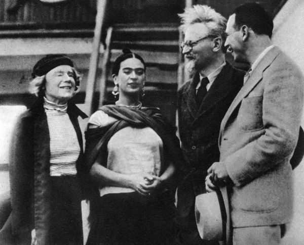 The Bolshevik leader finds refuge in Mexico. Leon Trotsky pictured here with his wife on the left of the photograph and Senora Rivera (Frida Kahlo), wife of artist Diego Rivera. Date: 30th January 1937