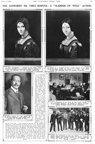 Page from the Illustrated London News reporting on the slander of title court case between art dealer and expert, Joseph Duveen and Mrs Andree Ledoux Hahn with the relation to a Leonardo da Vinci painting of La Belle Ferronniere
