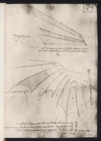 LEONARDO DA VINCI Sketches of wings for flying machines