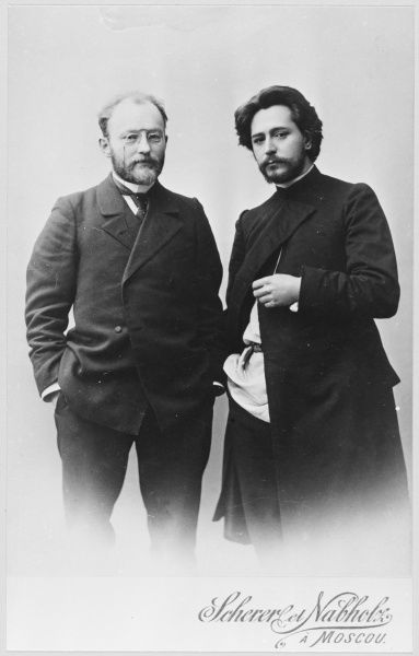 LEONID NIKOLAYEVICH ANDREYEV Russian writer (on left) with ikenti Veresaev