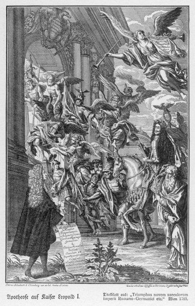 Allegorical representation of the accession of Leopold I to the imperial throne