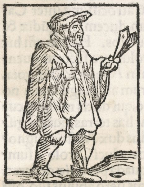 A 16th century leper walks with a clapper, to warn people of his approach