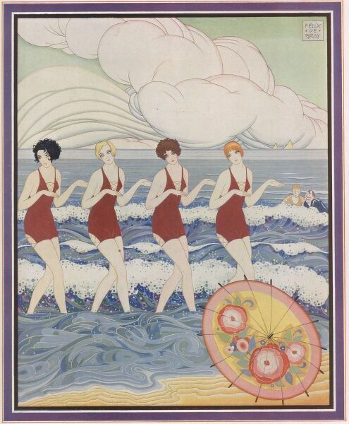 Colour illustration showing glamorous dancing girls stylishly entering the sea